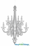"""Granville"" Candelabra - Collapsible 3-D Hanging Decoration 24"" x 18""-  Silver Glitter"