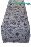 "Gray and Black  - Tweed -  Floral Table Runner 16"" x 72"""
