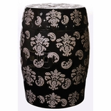 """Hampton"" Black Garden Stool with Tan Fleur De Lis Designs"