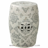 Hampton Garden Stool - White w/ Gray Pattern