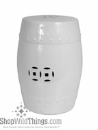 """Hampton"" White  Ceramic Garden Stool 18"""