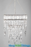 "CLEARANCE Hanging Beaded Candle Holder ""Nitya"" - 8.5"" Square"