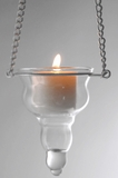 "Candle Holder - Hanging - ""Donatella"" - Clear Glass"