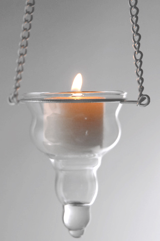 """Candle Holder - Hanging - """"Donatella"""" - Clear Glass"""