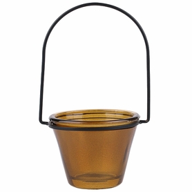 """CLEARANCE - Hanging Glass Votive & Tealight Holder, Recycled Glass - """"Brenna"""" - Dark Amber Brown (Min 6 pcs)"""