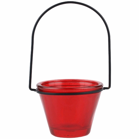 """CLEARANCE!  Hanging Glass Votive & Tealight Holder, Recycled Glass - """"Brenna"""" - Red  (Min 12 pcs)"""