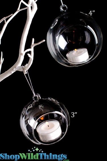 """Hanging (or Table Top) Round Glass Candle Holder 4"""" Diameter"""