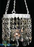Hanging Real Glass Crystal Candle Holder - Round - White