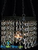 Hanging Real Glass Crystal Candle Holder - Square - Black