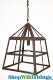 "Hanging Rust & Glass Lantern Chandelier ""Charles"" - 12.5"" x 17"""