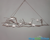 "Hanging Tree Branch Iron Candle Chandelier with 9 Conelets - ""Bromstad"""