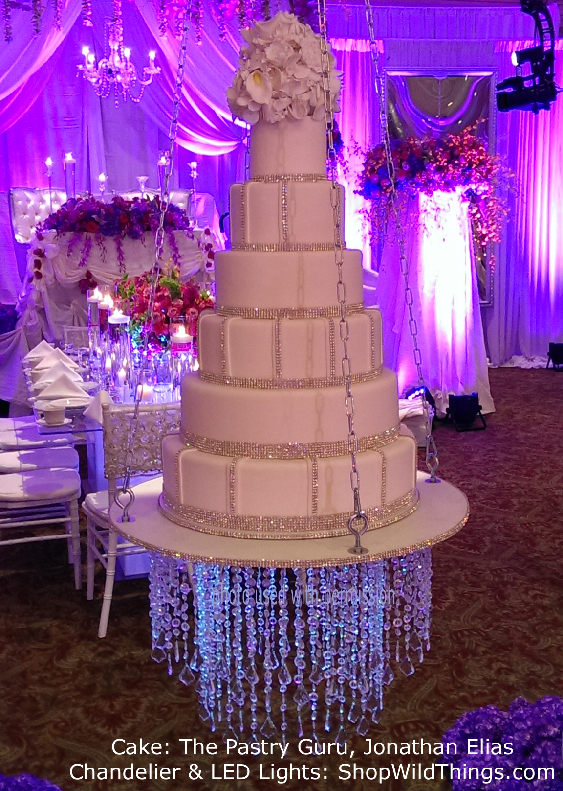Hanging Wedding Cake - With a Chandelier Underneath!