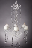 """Hayden"" White Crystal Candle Chandelier, Large"