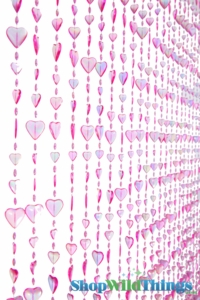 Hearts Beaded Curtain -  Pink Iridescent - 3' x 6'