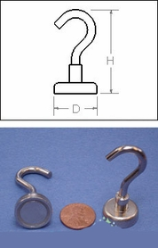 "Heavy Duty Mounting Magnet With Open Hook - Holds 41 pounds - 1"" - Set of 2"