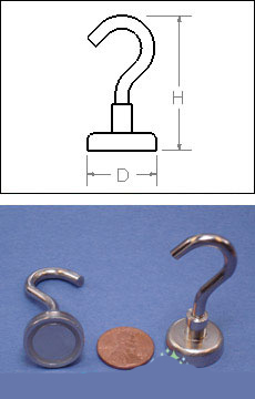"""Heavy Duty Mounting Magnet With Open Hook - Holds 41 pounds - 1"""" - Set of 2"""