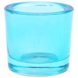 "Heavy Votive & Tealight Holder, Recycled Glass - ""Cora"" Aqua Blue Glass Candle Holder"
