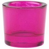 "Heavy Votive & Tealight Holder, Recycled Glass - ""Cora"" Fuchsia Pink Glass Candle Holder"