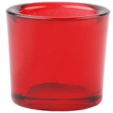"Heavy Votive & Tealight Holder, Recycled Glass - ""Cora"" Red Glass Candle Holder"