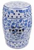 """Heirloom""  Blue & Gray Ceramic Garden Stool 18"""