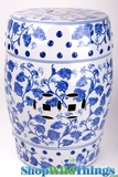 """Heirloom""  Blue & White Ceramic Garden Stool 18"""