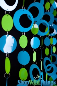 Coming Soon - Hoops Beaded Curtain -  Blue & Lime - 3 ft x 6 ft