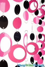 Hoops Pink & Black PVC Beaded Curtain