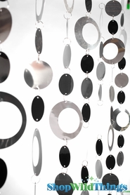 Hoops Beaded Curtain -  Silver & Black - 3 ft x 6 ft