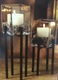 "Clearance - Iron Candle Holder Set ""Soho"" - Glass Vases, Pebbles & Candles"