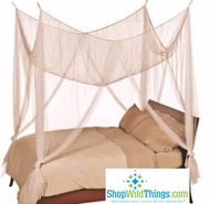 Ivory Bed Canopy, 4 Point Mosquito Net,  High Quality  King/Queen