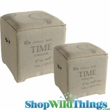 Johann Wolfgang von Goethe Burlap End Tables - Set of 2!