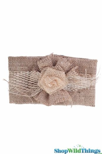 Jute Curtain Tie-Back with Natural Burlap Flower - Velcro Closure