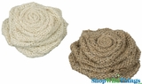"Jute Flower Clips (2 asst) 3.5"" - One Ivory, One Natural"