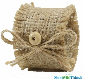 Jute Napkin Ring With Jute Bow + Wooden Button 1.5 x 2""