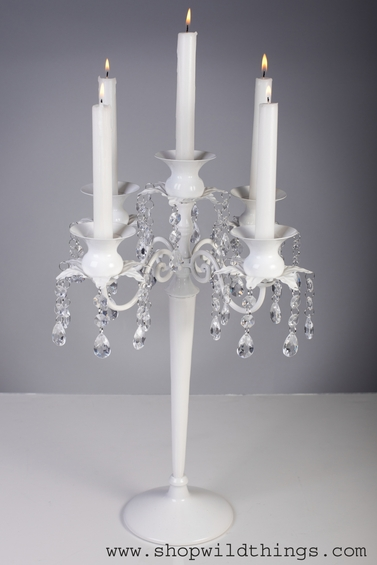 "CLEARANCE! ""Kensington"" Candelabra 5 Arm, White 17.5"" Tall"