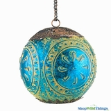 "Lantern -  Sola Blue Glass -  7"" Moroccan Sphere"