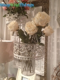 Large Metal Scroll Candle Chandelier - White & Gold