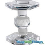 """CLEARANCE Lead Crystal Candle Holder """"Mariella"""" - 4.5"""" Tall - Reversible!"""