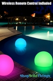 "LED 10"" Ball Rechargeable, Floating with Remote Control and Yard Stand"