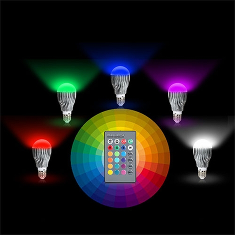 led color changing light bulb with remote control party and event. Black Bedroom Furniture Sets. Home Design Ideas