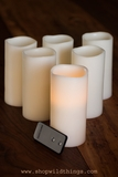 "LED Battery Operated Wax Candles 3"" x 6"" - Set of 6 - With Remote!"