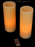 "LED Battery Operated Wax Candles 4"" x 10"" - Set of 2 - With Remote!"