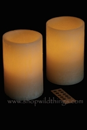 "LED Battery Operated Wax Candles 4"" x 6"" - Set of 2 - With Remote!"