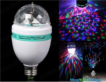 LED Full Color RGB Rotating Light Bulb / Lamp