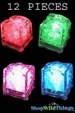 LED Ice Cubes - Color Changing, Flashing & Fading -  Set of 12