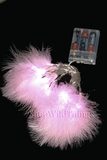 "LED Light Strand - Light Pink Feathers - 20 Lights, 86"" Long - Battery Operated"