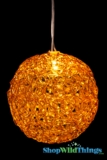 "LED Lighted Sparkle Ball Orb 4"" - Amber Brown - Battery Operated, Waterproof, Timer"
