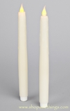 LED Taper Candle, Flickering - Set of 2 - Off-White Wax Drip Finish - Battery Operated