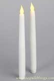 LED Taper Candle, Flickering - Set of 2 - White Smooth Wax Finish - Battery Operated