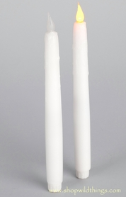 LED Taper Candle, Flickering - Set of 2 - White Wax Drip Finish - Battery Operated